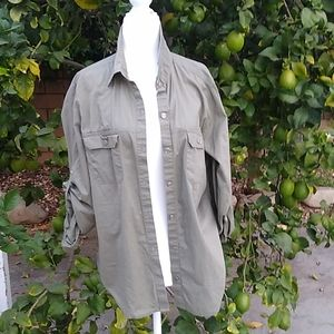 New York & Co Cotton blouse, olive, SIZE LARGE